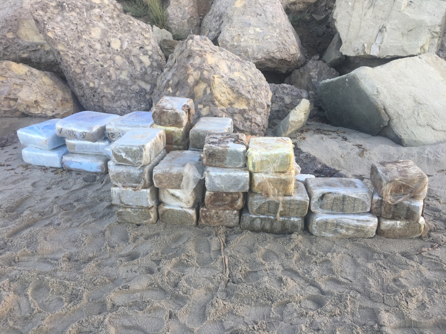 Some of the 41 bales of marijuana that were found aboard a panga boat are seen in a photo released by the Ventura County Sheriff's Office on Sep. 15, 2019.