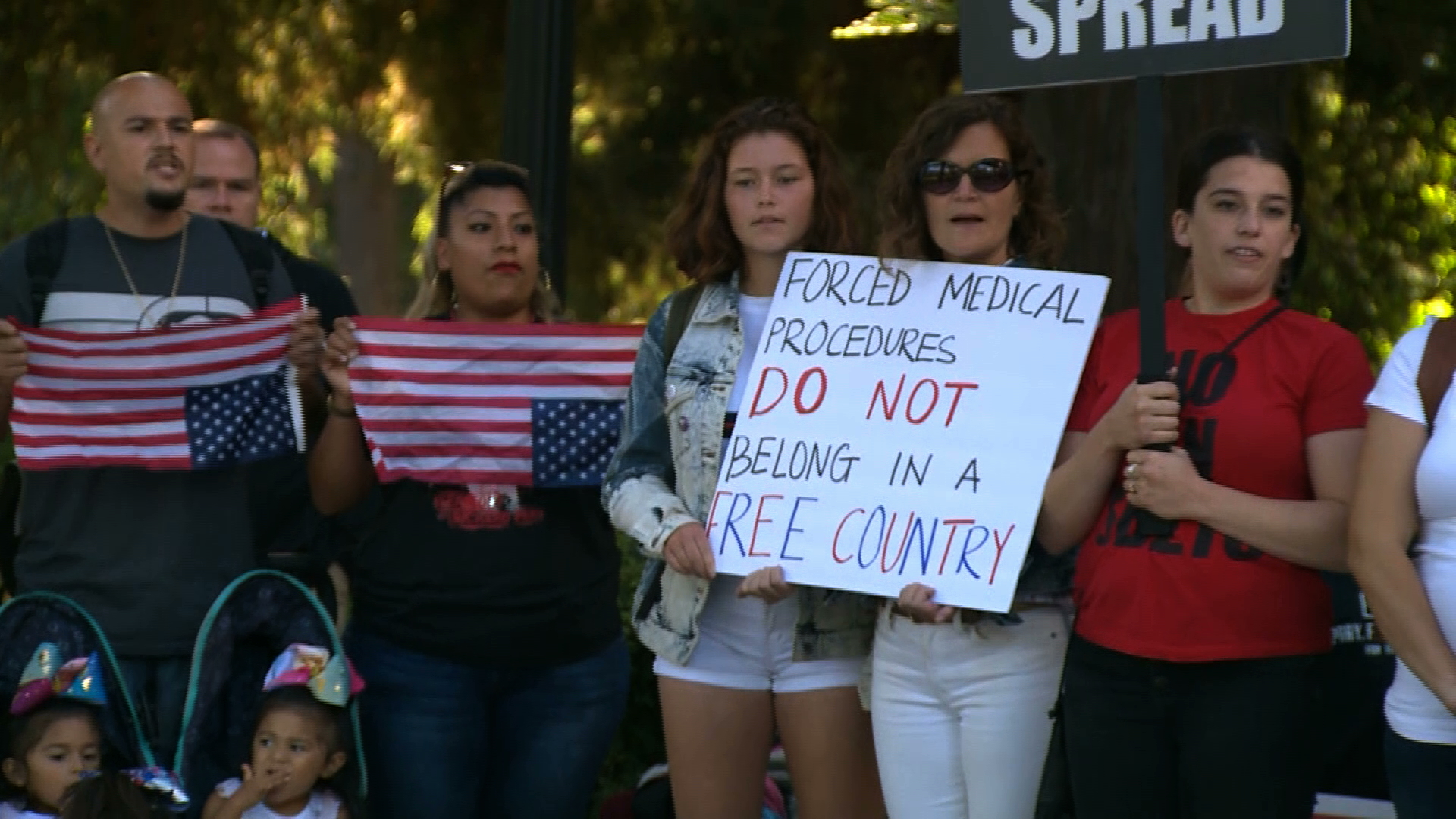 Anti-vaccine protesters demonstrate outside the state Capitol in Sacramento on Sept. 9, 2019. (Credit: KCRA via CNN)