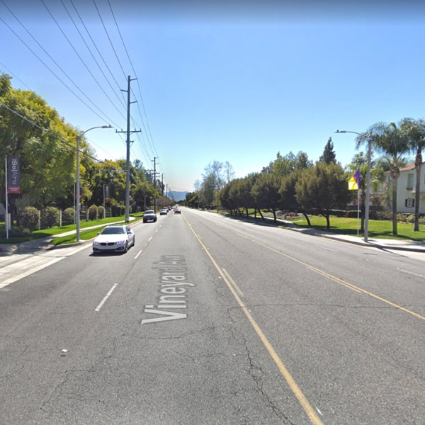 The 8200 block of Vineyard Avenue in Rancho Cucamonga is shown in a Street View image from Google Maps.