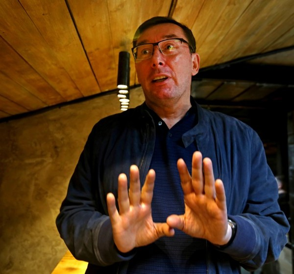 Yuri Lutsenko, the former prosecutor general of Ukraine, at an interview in a Kyiv cafe on Sept. 28, 2019. (Credit: Sergei L. Loiko/Los Angeles Times)