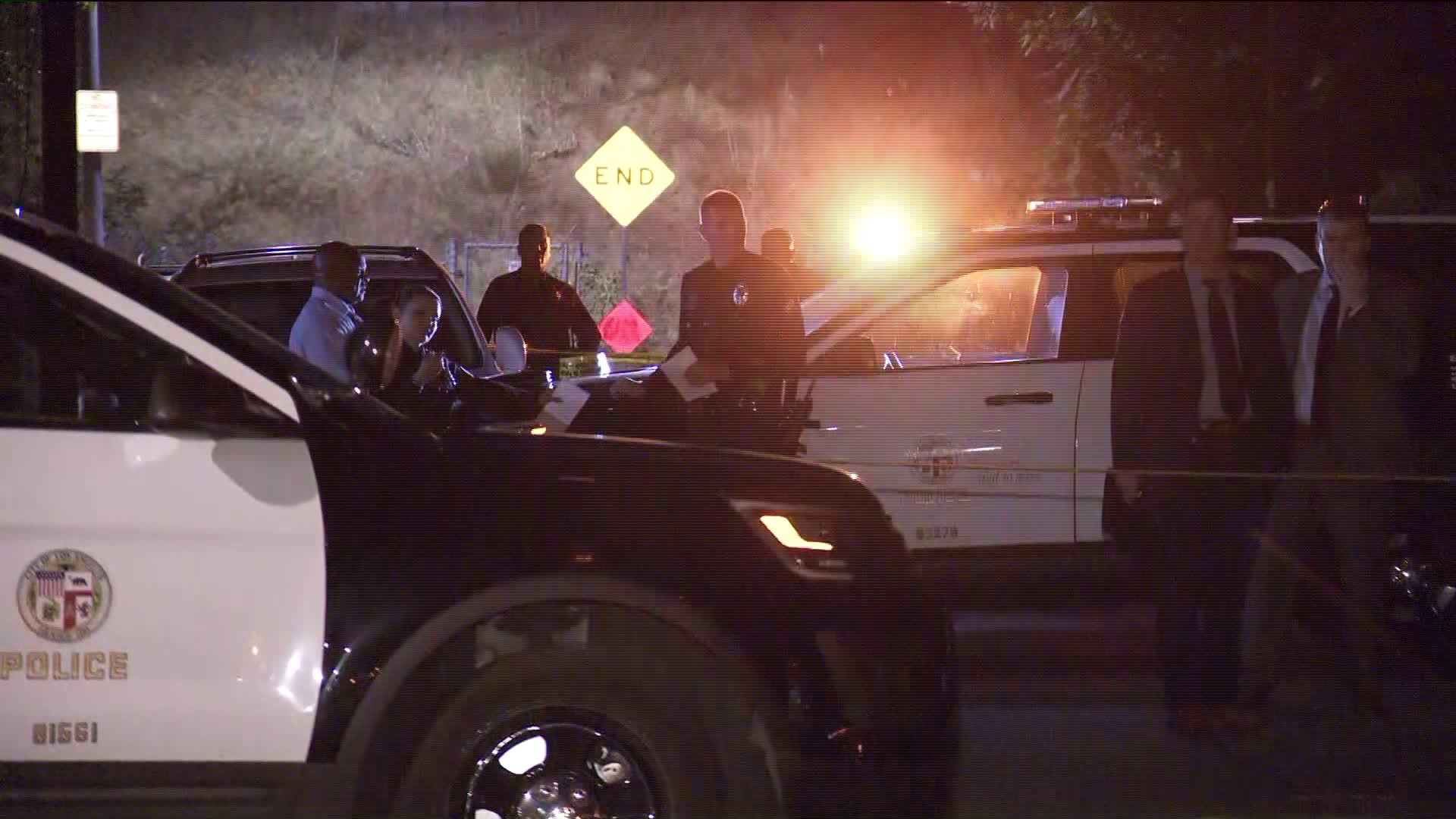 Police investigate a shooting that left a man dead at Orion Avenue and Chase Street in the North Hills area of Los Angeles on Oct. 18, 2019. (Credit: KTLA)