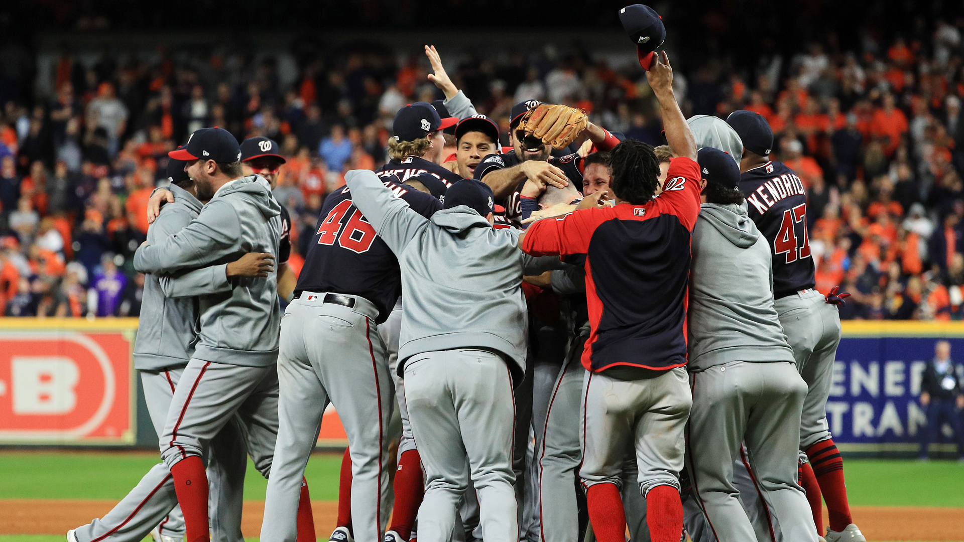 The Washington Nationals celebrate after defeating the Houston Astros 6-2 in Game Seven to win the 2019 World Series in Game Seven of the 2019 World Series at Minute Maid Park on October 30, 2019 in Houston, Texas. (Credit: Mike Ehrmann/Getty Images)