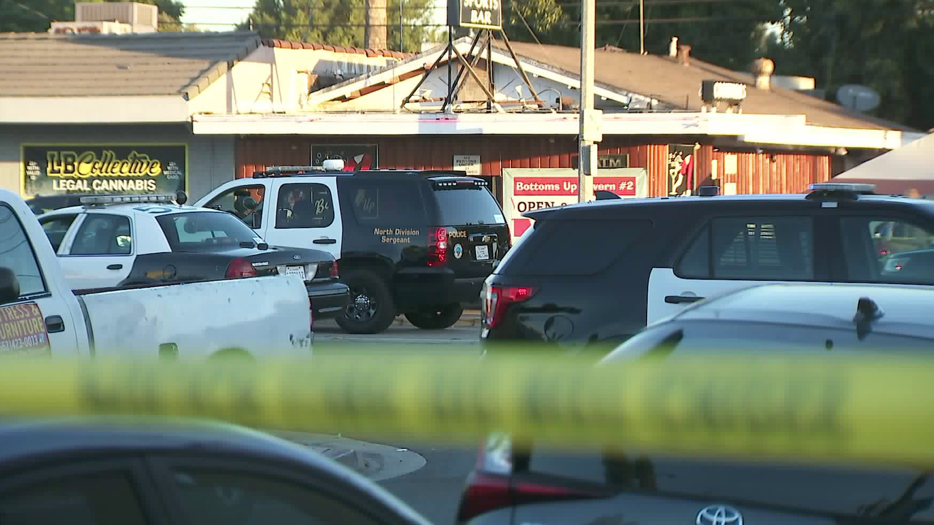 Police respond to a shooting at the Bottoms Up sports bar in Long Beach on Oct. 23, 2019. (Credit: KTLA)