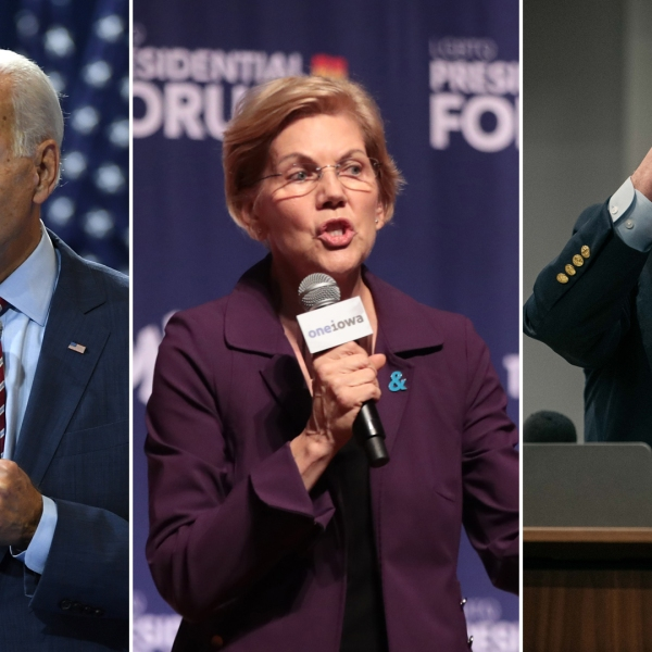 Joe Biden, Elizabeth Warren and Bernie Sanders are seen on the presidential campaign trail in 2019. (Credit: Getty Images)
