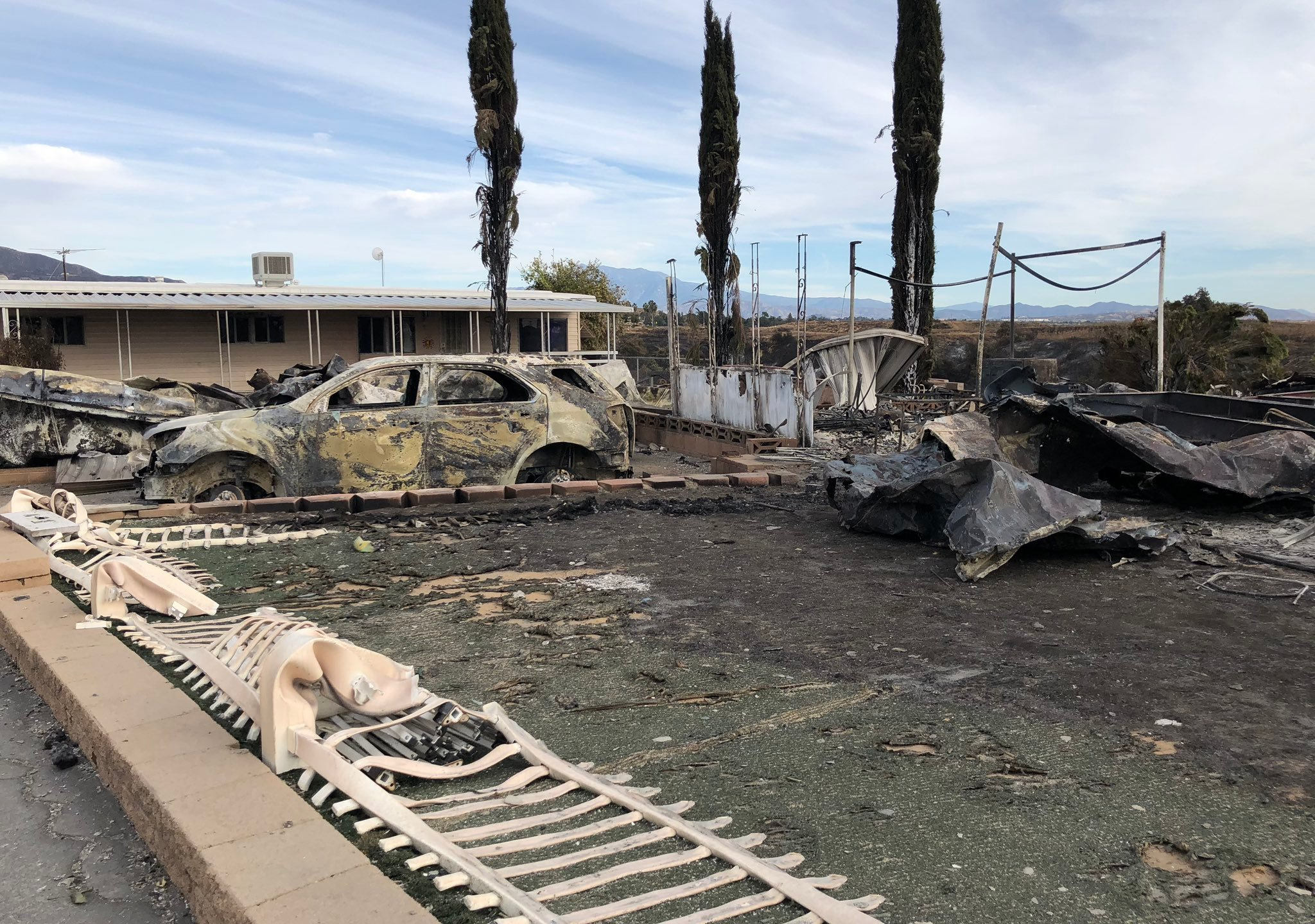 Destroyed property in Calimesa appears in the aftermath of the Sandalwood Fire in a photo released by the California Department of Insurance on Oct. 16, 2019.