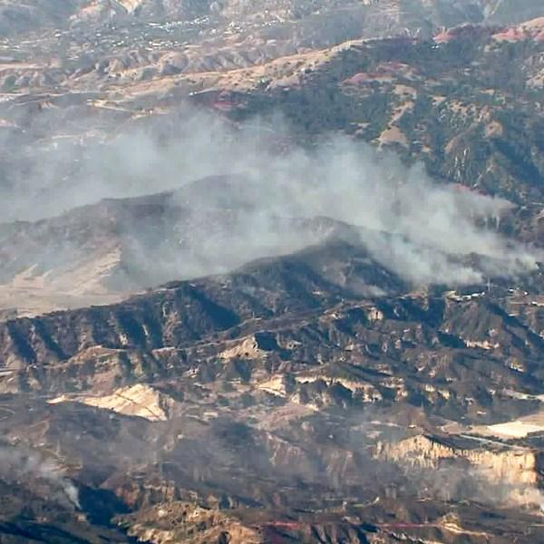 The Saddleridge Fire burns in Porter Ranch on Oct. 12, 2019. (Credit: KTLA)