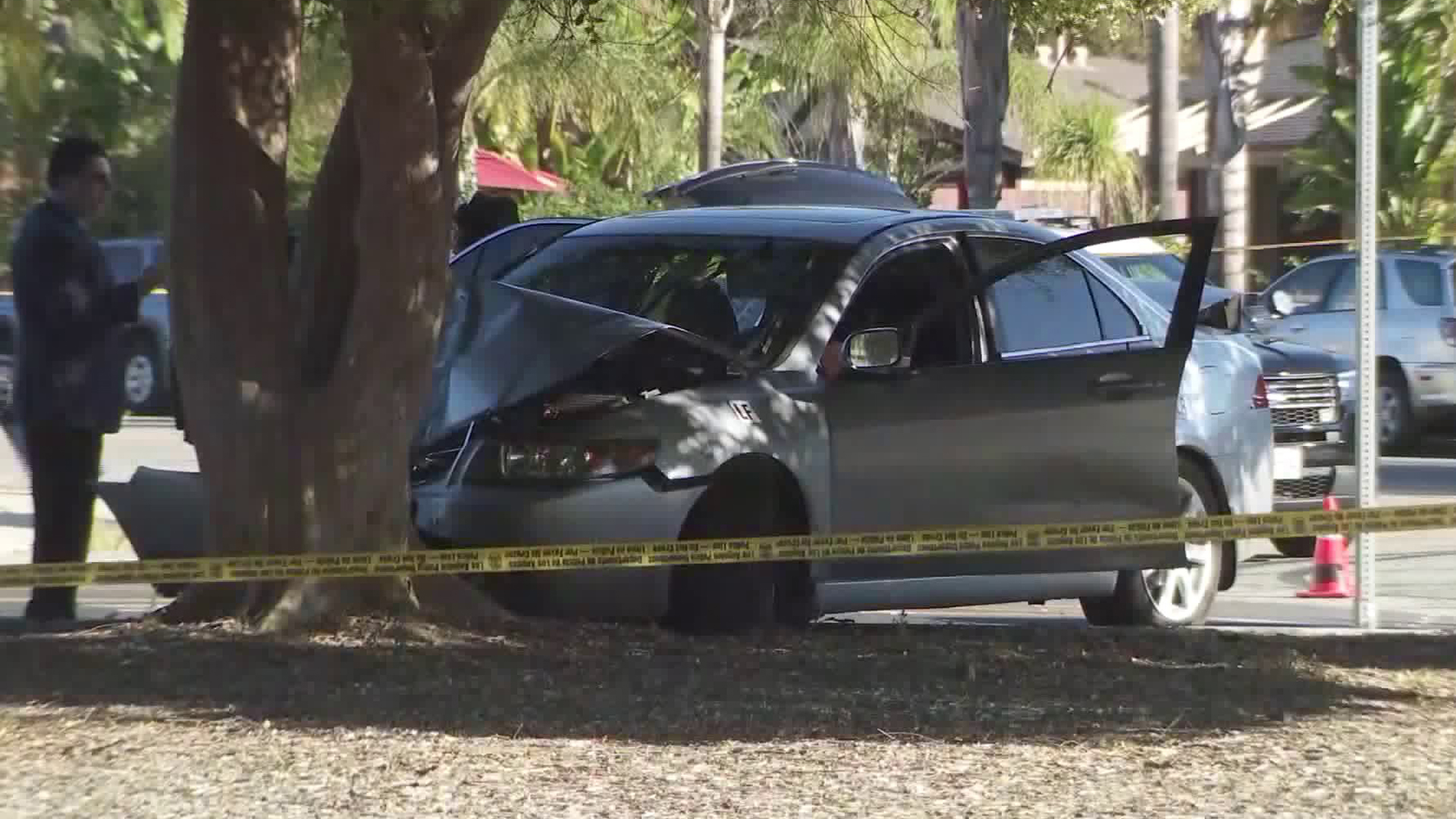 A vehicle that police were pursuing is seen crashed into a tree in Mission Hills on Oct. 20, 2019. (Credit: KTLA)