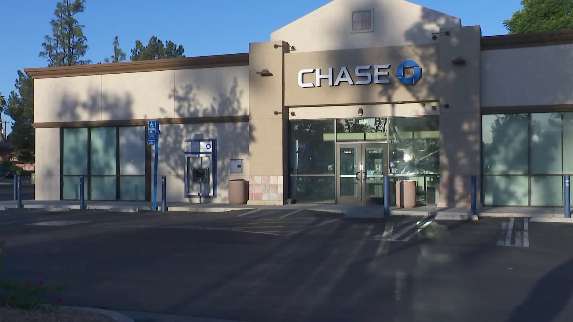 A Chase bank in Colton is seen on Oct. 2, 2019 after an incident in which a robbery suspect opened fire at police. (Credit: KTLA)