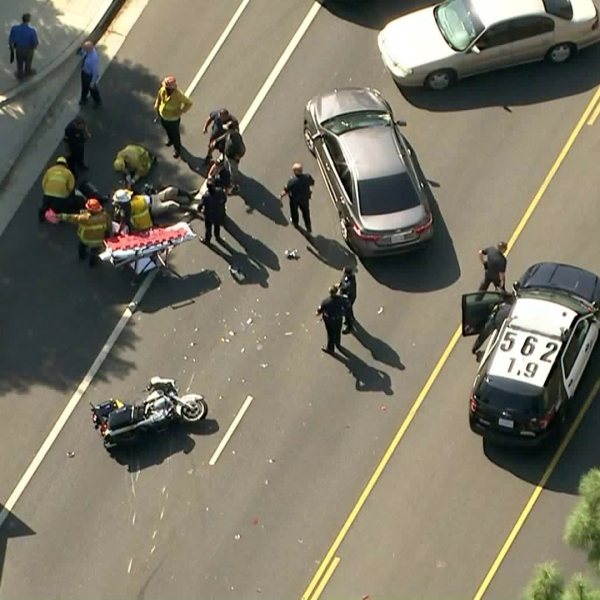 A CHP officer was down in Granada Hills after an apparent crash on Oct. 17, 2019. (Credit: KTLA)