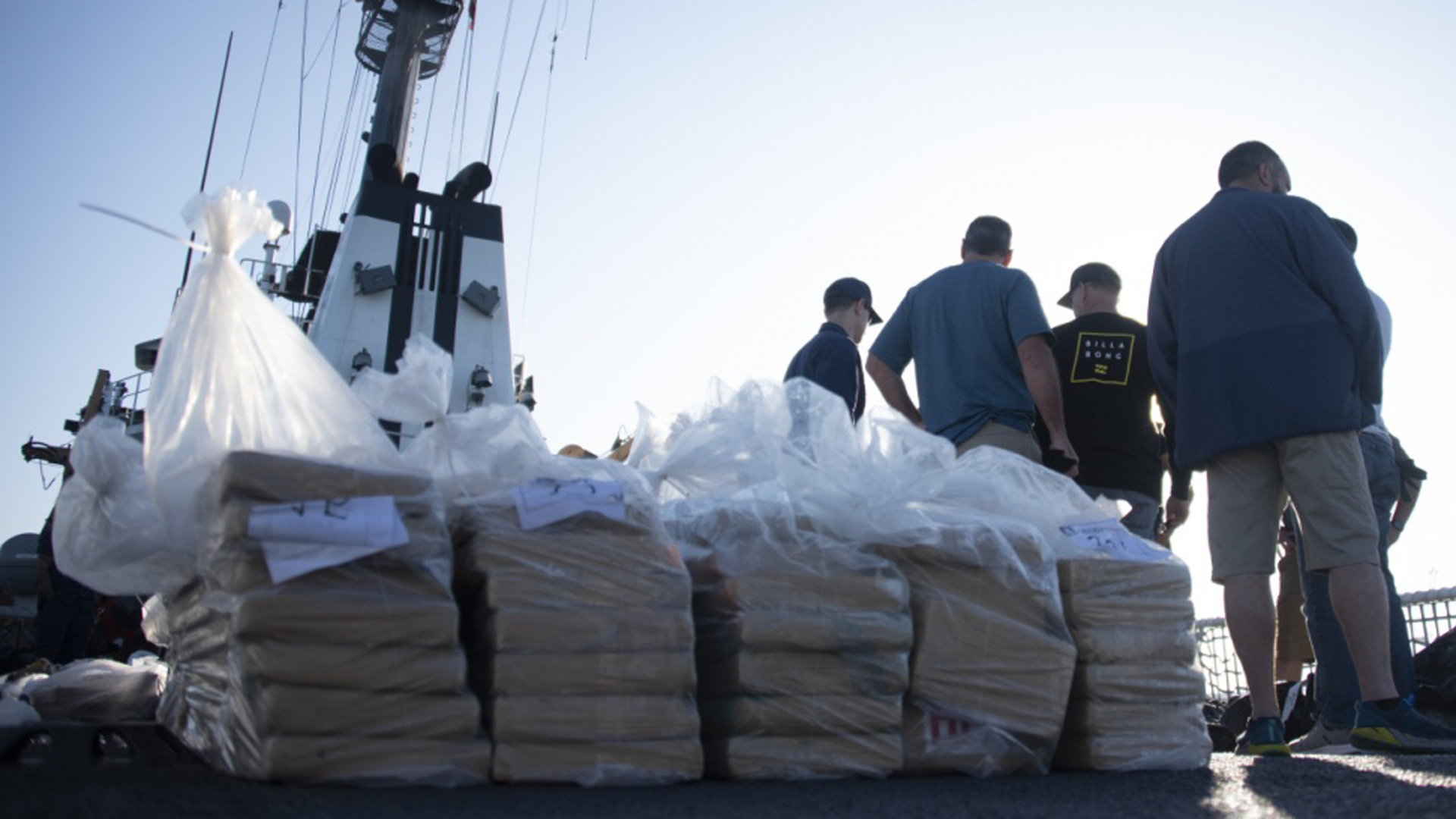 Stacks of packaged cocaine seized by federal authorities in the eastern Pacific Ocean appear in a photo released by the U.S. Coast Guard on Oct. 16, 2019.