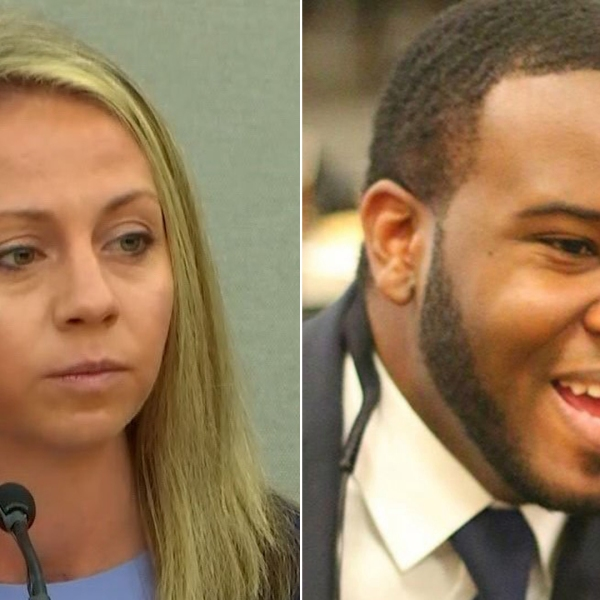 Left, Amber Guyger is seen in court on Sept. 30, 2019; right, Botham Jean is seen in a photo from his Facebook page that was distributed by CNN.