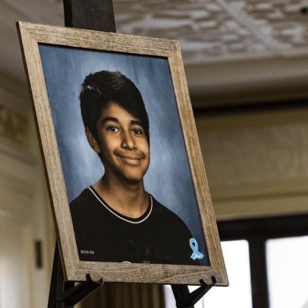 A framed photo showed Diego Stolz, 13, who was fatally injured in an assault on Sept. 16 at Landmark Middle School in Moreno Valley. (Credit: Gina Ferazzi / Los Angeles Times)