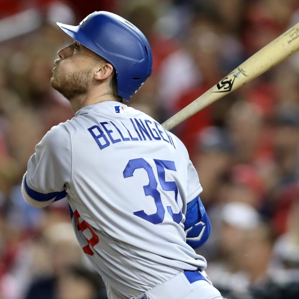 Cody Bellinger #35 of the Los Angeles Dodgers flies out for the third out of the third inning of Game 3 of the NLDS against the Washington Nationals at Nationals Park on October 06, 2019 in Washington, DC. (Credit: Rob Carr/Getty Images)