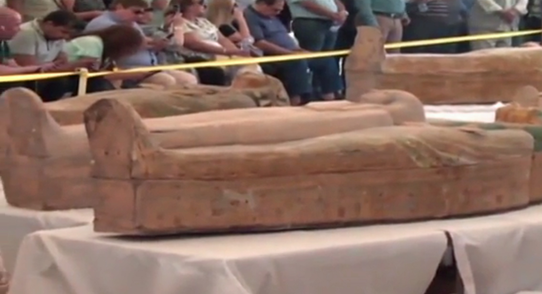 Some of 30 ancient coffins with mummies inside that Egypt unveiled on Oct. 18, 2019, in Luxor, Egypt. (Credit: EGYPTIAN TV via CNN)