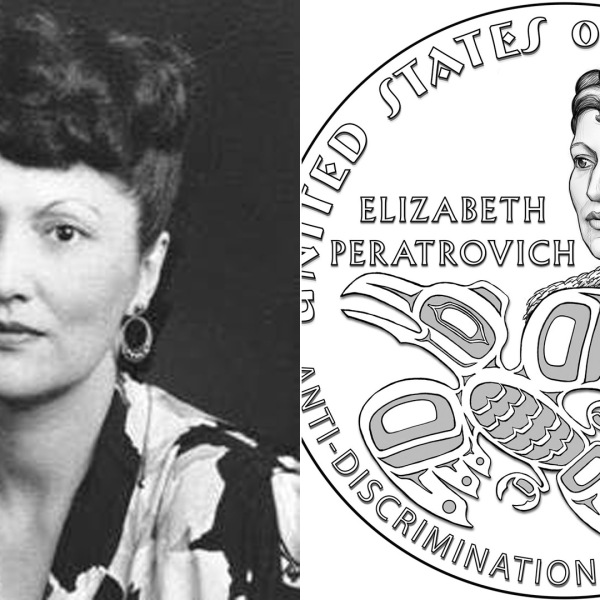 Elizabeth Peratrovich is seen in an undated photo from the Alaska State Archives. On the right, an illustration of a $1 coin in her honor was released by the U.S. Mint in October 2019.