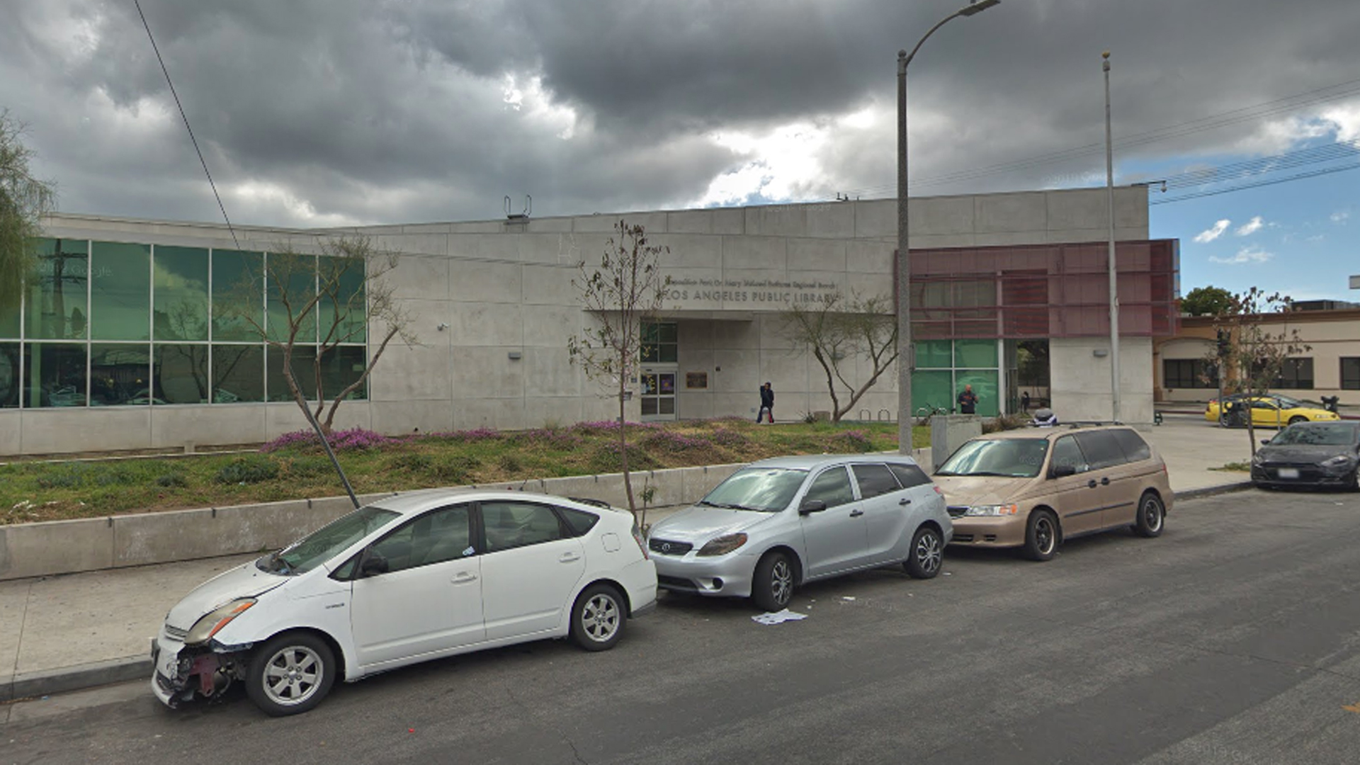 A Los Angeles Public Library branch in Exposition Park is seen in a Google Maps Street View image.