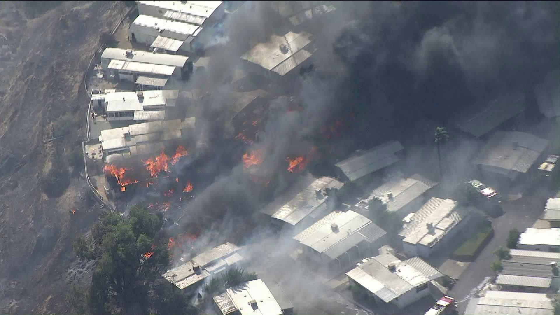 The Sandalwood Fire leaves several homes destroyed at a mobile home park in Calimesa on Oct. 10, 2019. (Credit: KTLA)