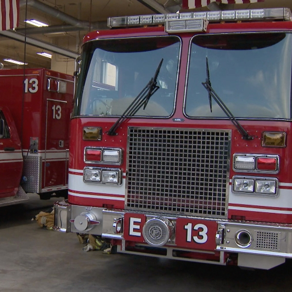 A fire truck and ambulance are parked at Fire Station 13 in Pico-Union on Oct. 9, 2019. (Credit: KTLA)