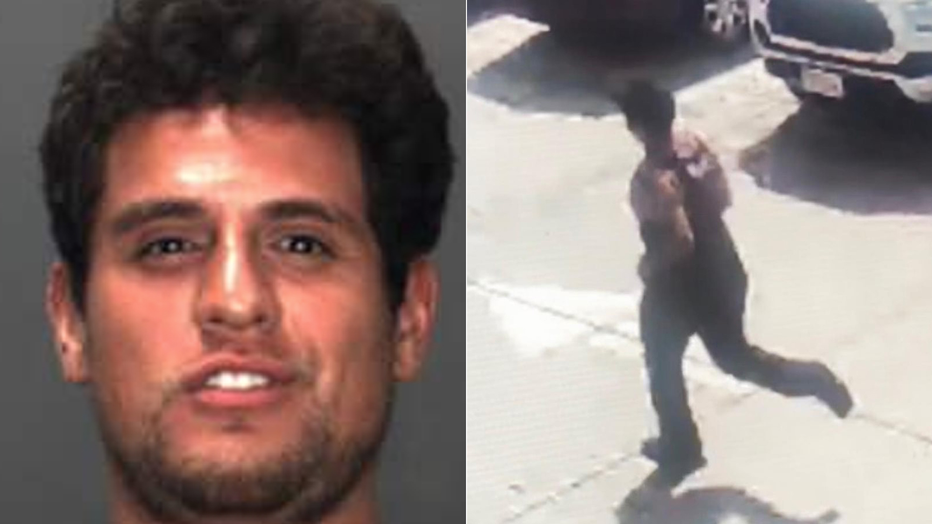 "Alberto Suarez (left) is shown in a photo provided by the Fontana Police Department on Oct. 8, 2019. At right, police released surveillance still of a ""brazen"" attempted sexual assault that occurred the previous month."