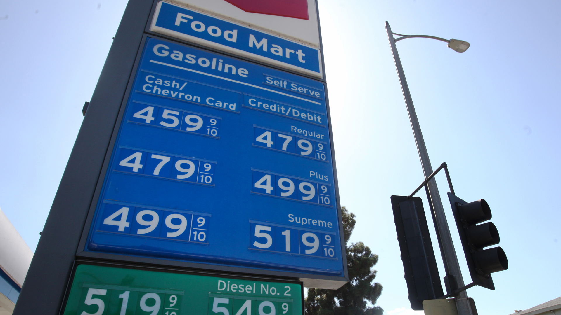 Prices of gasoline per gallon are displayed at a gas station on October 1, 2019 in Los Angeles. (Credit: Mario Tama/Getty Images)