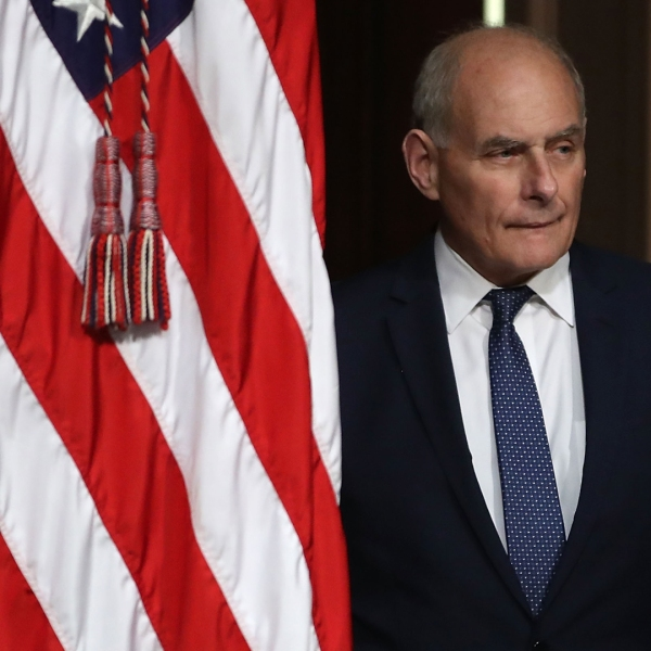 Then-White House Chief of Staff John Kelly attends the annual meeting of President's Interagency Task Force (PITF) to Monitor and Combat Trafficking in Persons, at the Eisenhower Executive Office Building on Oct. 11, 2018, in Washington, D.C. (Credit: Mark Wilson/ Getty Images)