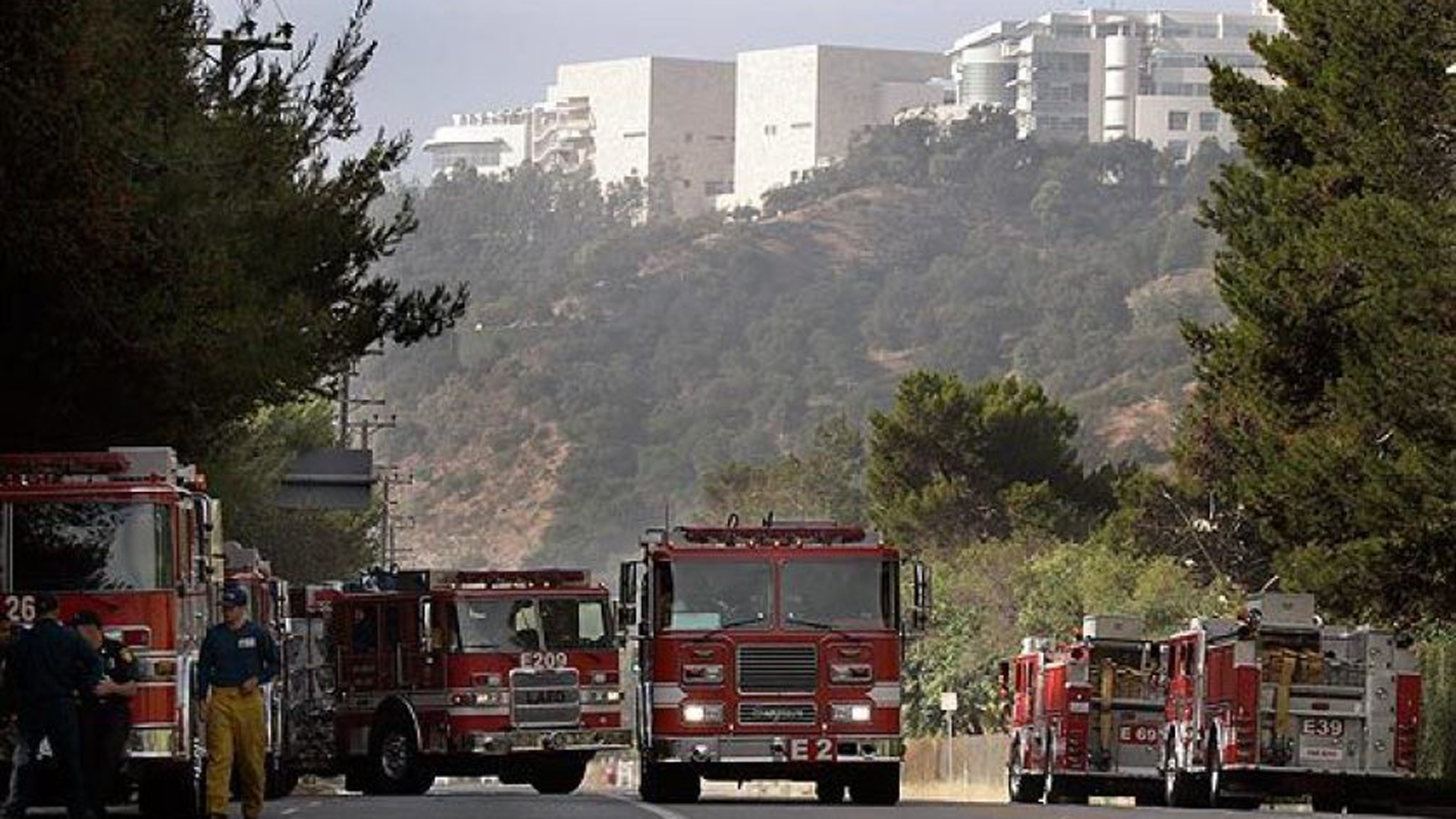 Fire trucks at a staging area on Sepulveda Boulevard near the Getty Center entrance.(Credit: Al Seib / Los Angeles Times)