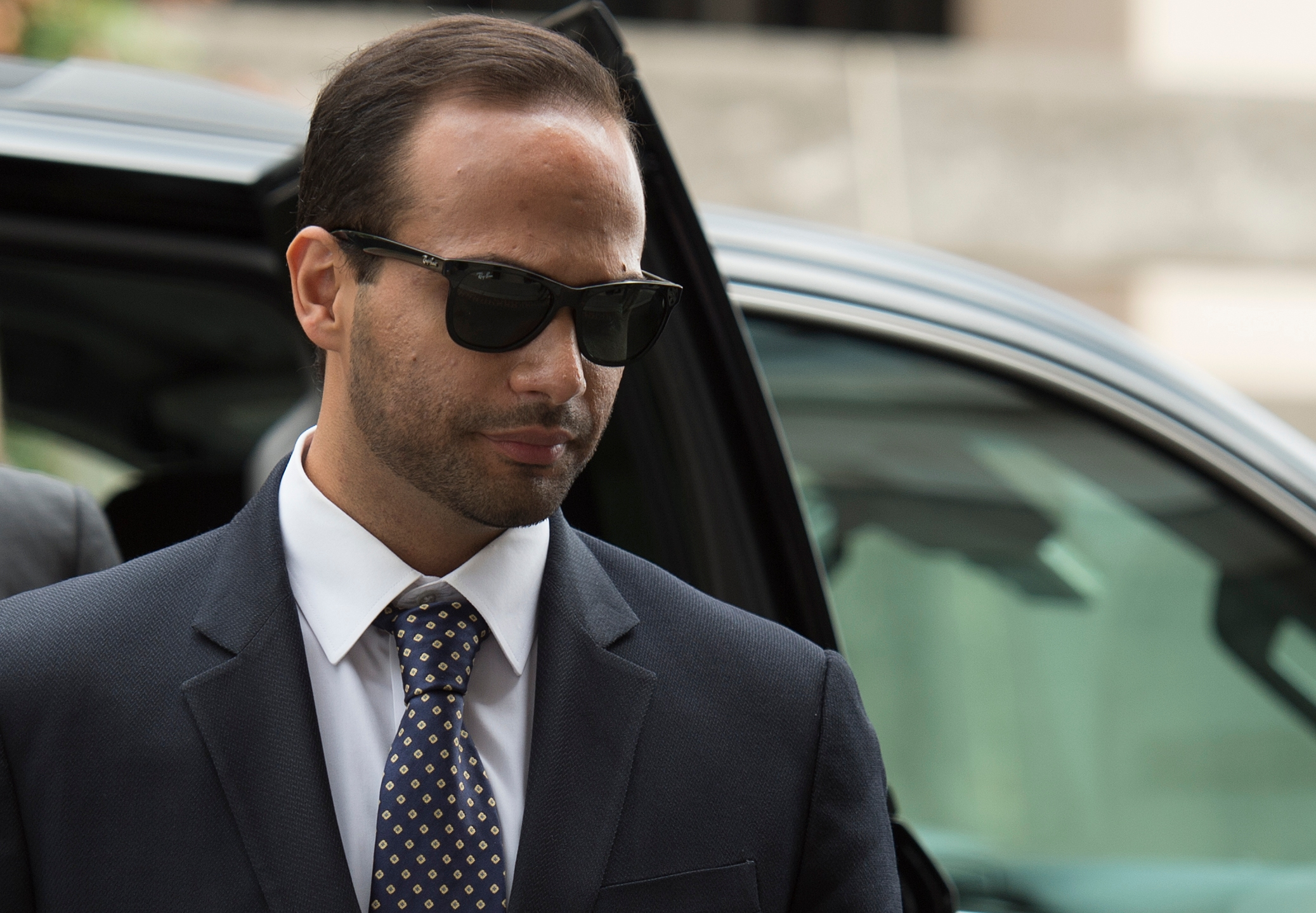 George Papadopoulos arrives at US District Court for his sentencing in Washington, D.C. on Sept. 7, 2018. (Credit: Andrew Caballero Reynolds/AFP/Getty Images)