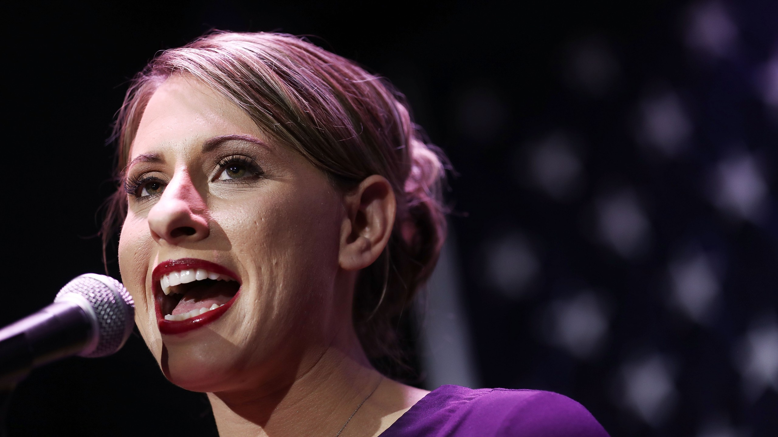 Democratic Congressional candidate Katie Hill speaks to supporters at her election night party in California's 25th Congressional district on Nov. 6, 2018, in Santa Clarita, Calif.(Credit: Mario Tama/Getty Images)