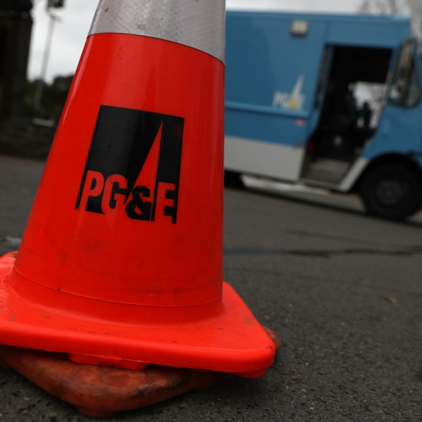 A traffic cone sits next to a Pacific Gas & Electric truck on Jan. 17, 2019 in Fairfax, California. (Credit: Justin Sullivan/Getty Images)