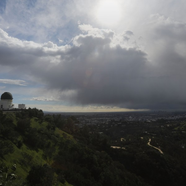 The Griffith Observatory is seen during an unusually cold winter storm on Feb. 21, 2019, in Los Angeles. (Credit: Mario Tama/Getty Images)
