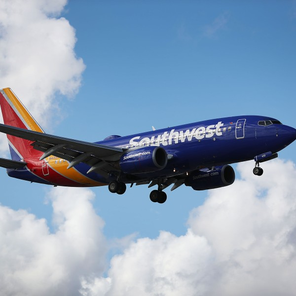 A Southwest Airlines plane prepares to land at Fort Lauderdale–Hollywood International Airport on Feb. 20, 2019. (Credit: Joe Raedle / Getty Images)