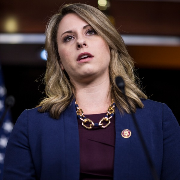 Rep. Katie Hill speaks during a news conference in Washington, D.C., on April 9, 2019. (Credit: Zach Gibson / Getty Images)