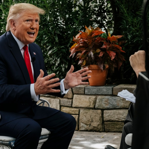 """U.S. President Donald Trump speaks with moderator Chuck Todd at the White House for """"Meet the Press"""" in Washington, D.C., on June 21, 2019. (Credit: William B. Plowman/NBC/NBC Newswire/NBCUniversal via Getty Images)"""