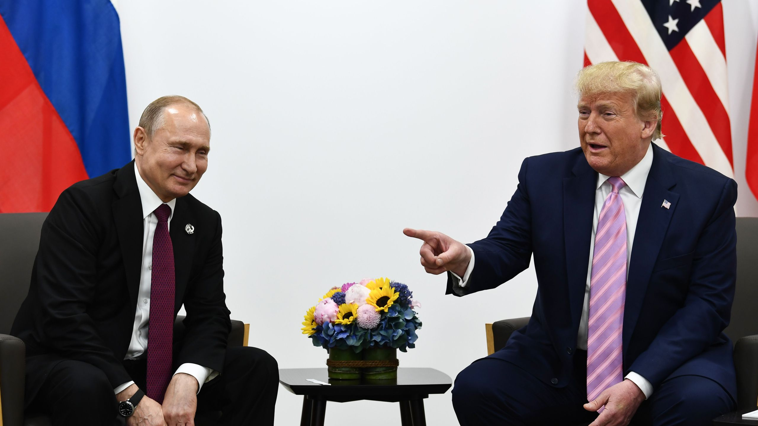 U.S. President Donald Trump attends a meeting with Russia's President Vladimir Putin during the G20 summit in Osaka on June 28, 2019. (Credit: BRENDAN SMIALOWSKI/AFP/Getty Images)