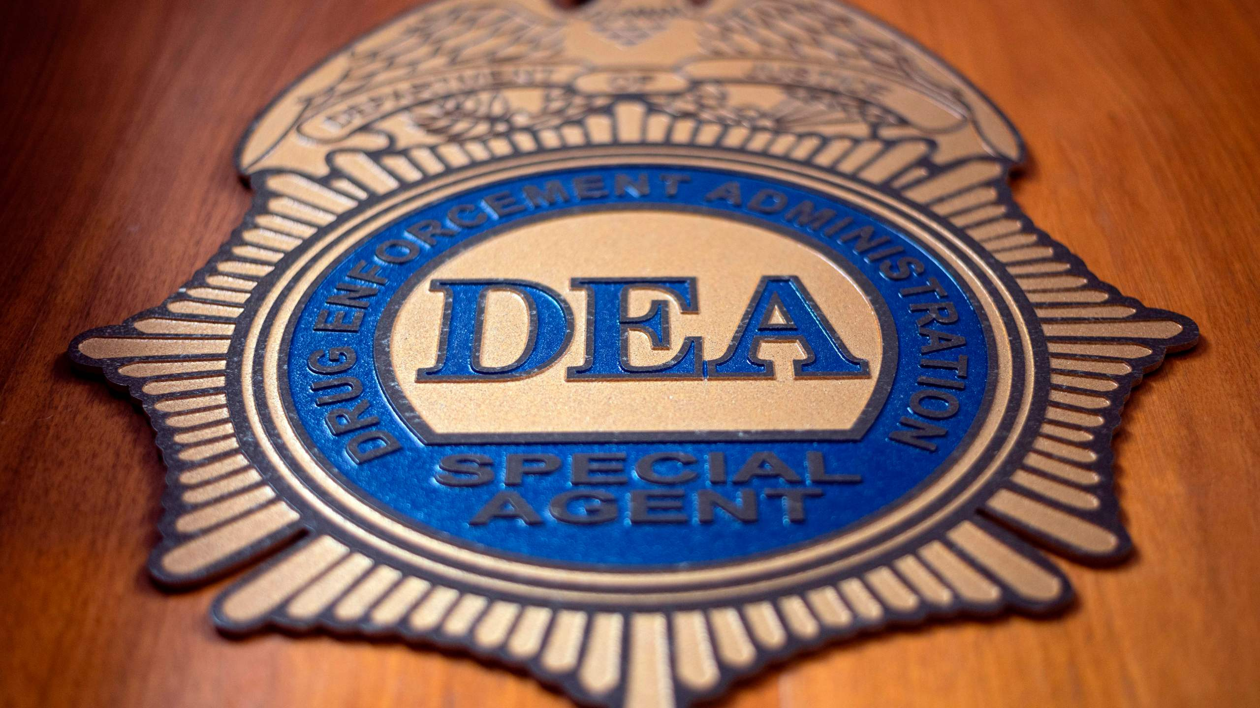 A logo reading DEA Special Agent is pictured in the Office of the U.S. Drug Enforcement Administration (DEA) on May 29, 2019 in New York City. (Credit: JOHANNES EISELE/AFP/Getty Images)