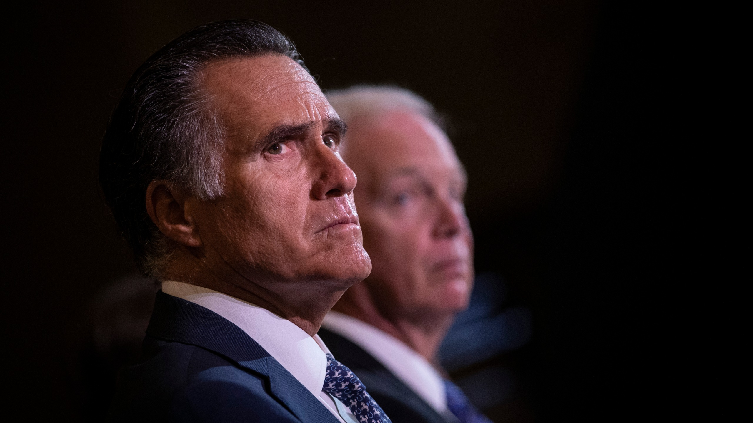 "Senators Mitt Romney (R-UT) and Ron Johnson (R-WI) attend a a special Senate Committee on Homeland Security and Governmental affairs hearing on ""The State of Homeland Security after 9/11"" at the National September 11th Memorial & Museum on Sept. 9, 2019, in New York City. (Credit: Drew Angerer/Getty Images)"