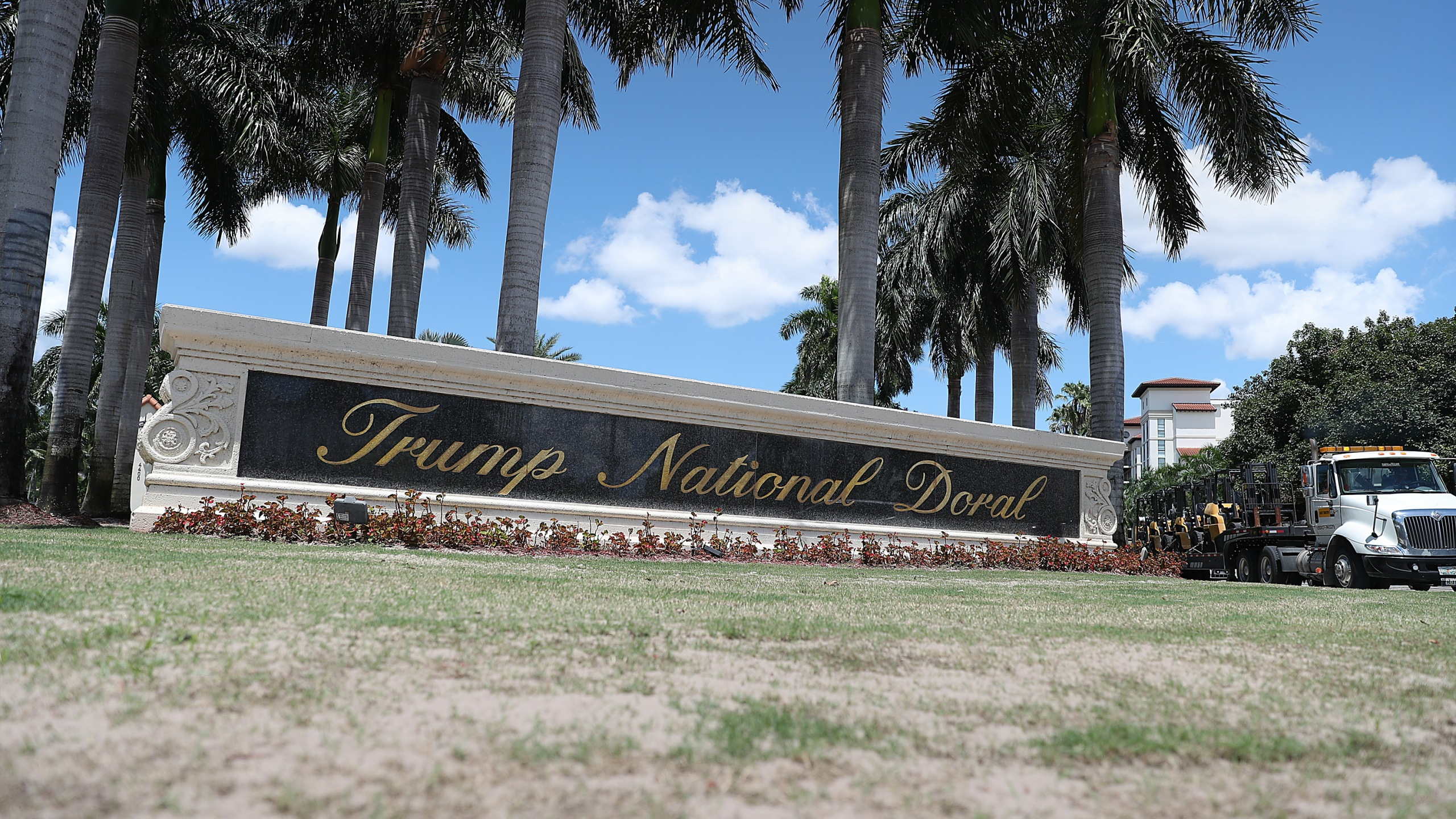 A Trump National Doral sign is seen at the golf resort owned by Donald Trump's company on Aug. 27, 2019 in Doral, Florida. (Credit: Joe Raedle/Getty Images)
