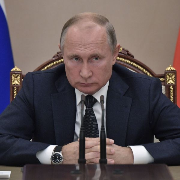 Russian President Vladimir Putin attends a meeting on modernising the health care system at the Kremlin in Moscow on October 2, 2019. (Credit: ALEXEY NIKOLSKY/Sputnik/AFP via Getty Images)