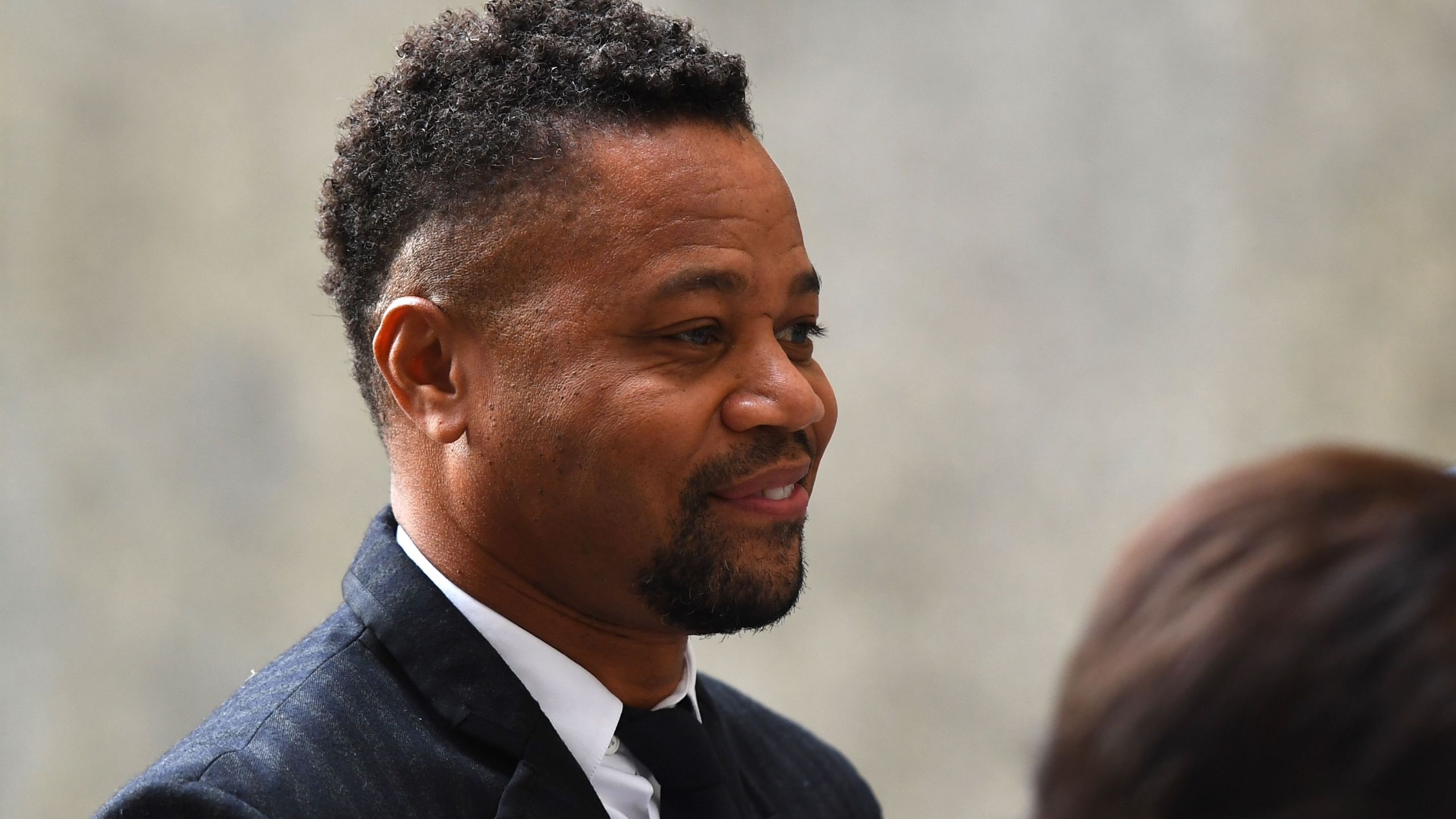 Actor Cuba Gooding Jr., (R rear) arrives for his trial on his sexual assault case on October 10, 2019, in New York City. (Credit: JOHANNES EISELE/AFP via Getty Images)