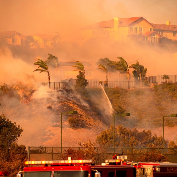 Wind whips through the area as firefighters fight impending flames during the Saddleridge Fire in the Porter Ranch section of Los Angeles, Calif. on Oct. 11, 2019. (Credit: JOSH EDELSON/AFP via Getty Images)
