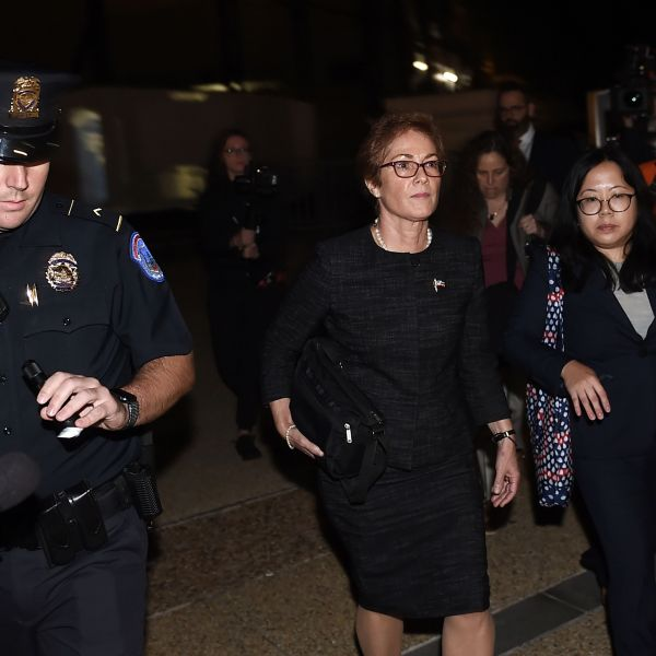 Former U.S. Ambassador to Ukraine Marie Yovanovitch (C) flanked by lawyers, aides and Capitol police, leaves the US Capitol Oct. 11, 2019, in Washington, D.C., after testifying behind closed doors to the House Intelligence, Foreign Affairs and Oversight committees as part of the ongoing impeachment investigation against President Donald Trump. (Credit: OLIVIER DOULIERY/AFP via Getty Images)