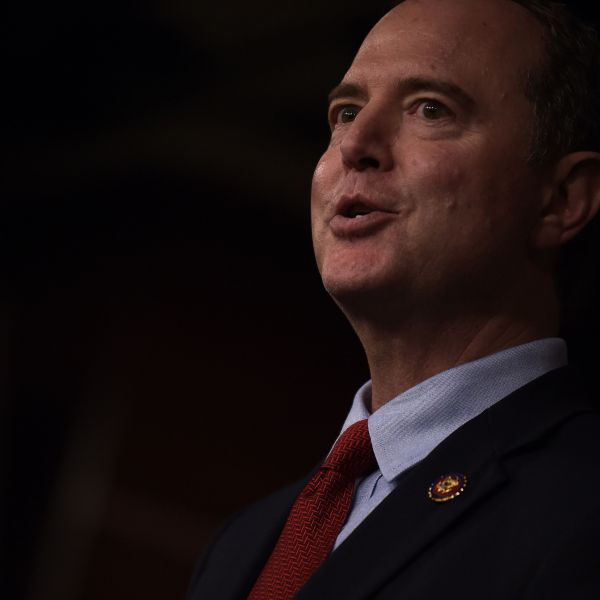 Chairman of the U.S. House Permanent Select Committee on Intelligence, Adam Schiff, holds a press conference with Speaker of the House Nancy Pelosi on Capitol Hill in Washington, D.C., on Oct. 15, 2019.(Credit: ERIC BARADAT/AFP via Getty Images)