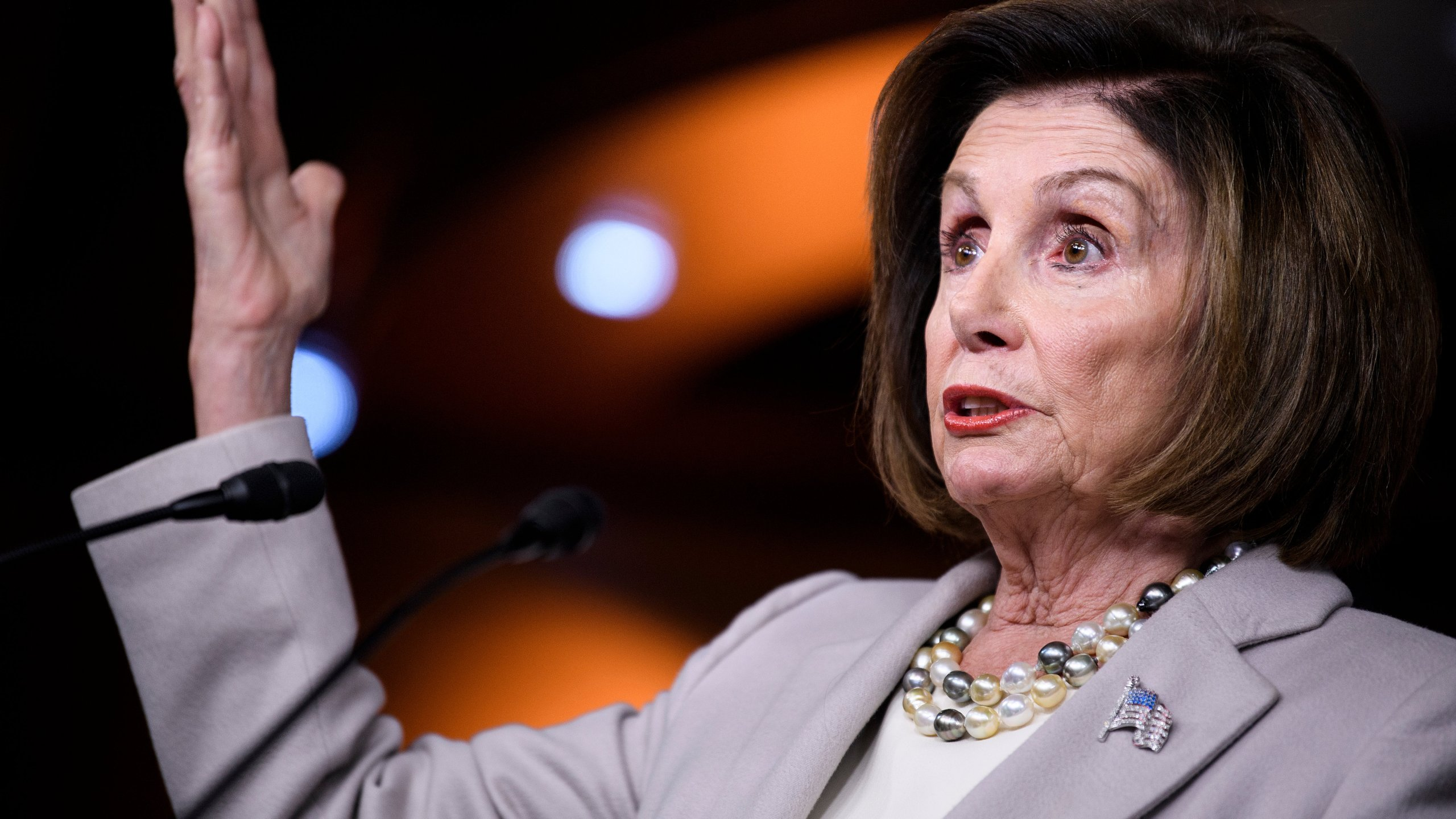 U.S. Speaker of the House Nancy Pelosi speaks at her weekly press conference on Capitol Hill in Washington, D.C., Oct. 17, 2019. (Credit: BRENDAN SMIALOWSKI/AFP via Getty Images)