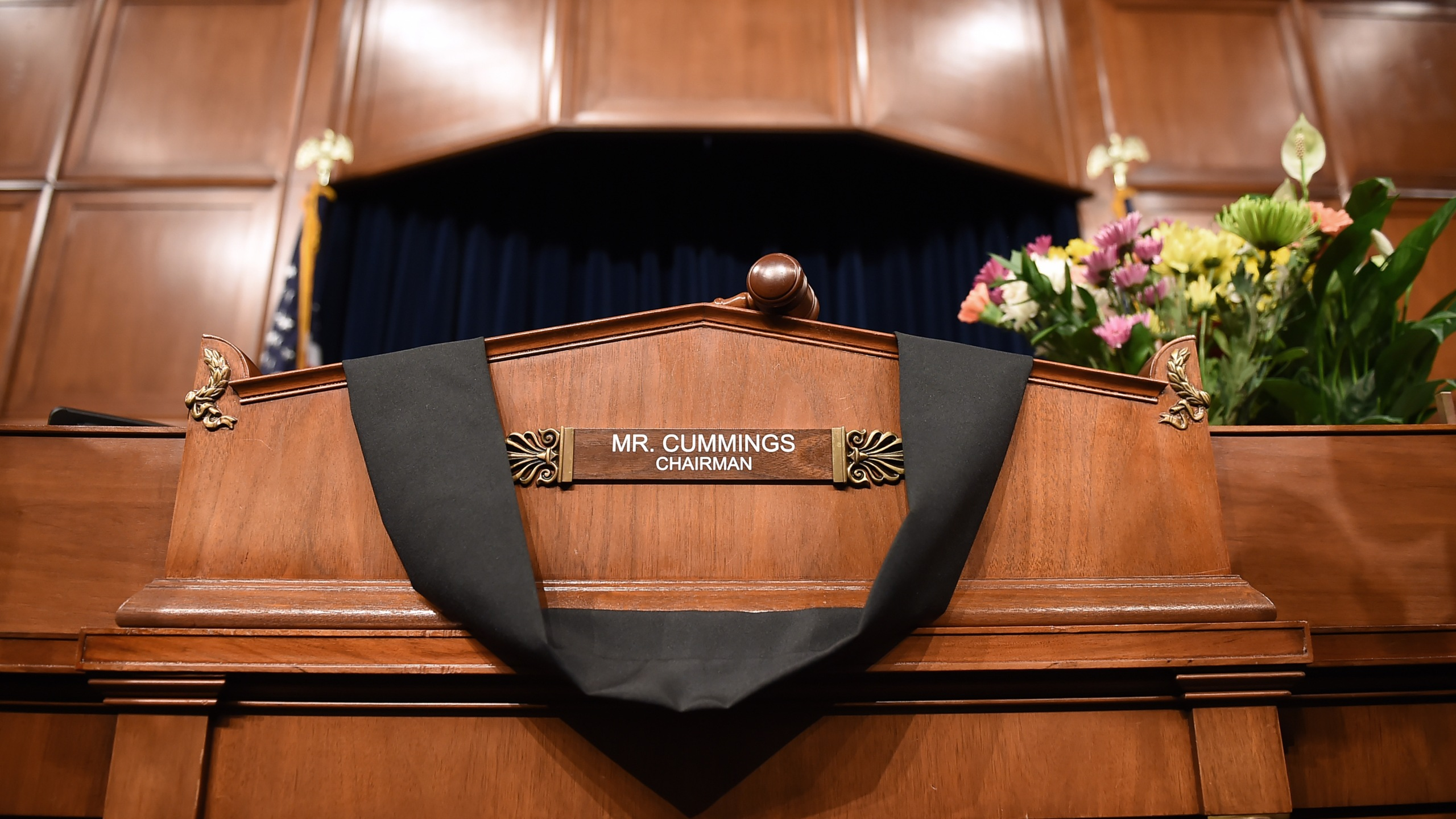 The Committee on Oversight and Reform room is adorned in black for Chairman Elijah Cummings, in Washington, D.C. on Oct. 17, 2019. (Credit: OLIVIER DOULIERY/AFP via Getty Images)