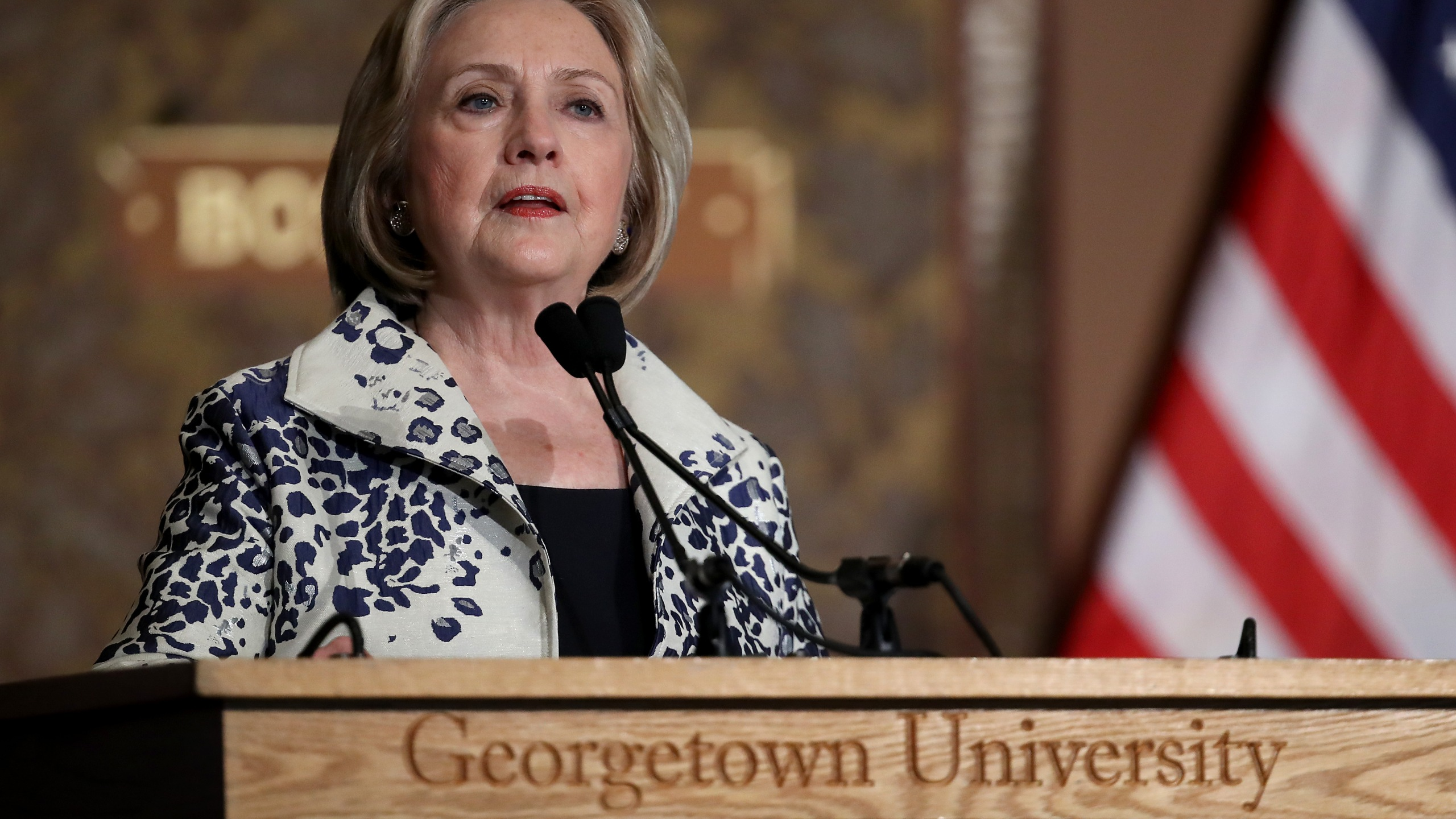 Former U.S. Secretary of State Hillary Clinton speaks at Georgetown University Sept. 27, 2019, in Washington, D.C. (Credit: Win McNamee/Getty Images)