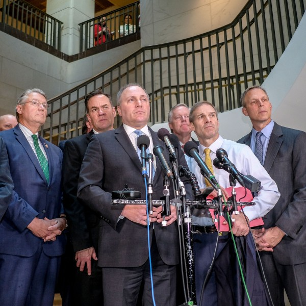 House Minority Whip Steve Scalise (R-LA) pauses while speaking during a press conference alongside House Republicans on Capitol Hill on Oct. 23, 2019, in Washington, D.C. (Credit: Alex Wroblewski/Getty Images)
