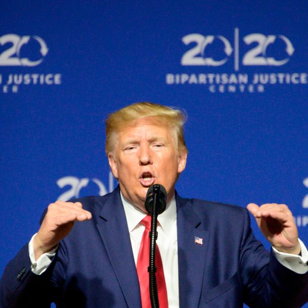 U.S. President Donald Trump delivers remarks at the 2019 Second Step Presidential Justice Forum in Columbia, South Carolina, on Oct. 25, 2019. (Credit: JIM WATSON/AFP via Getty Images)