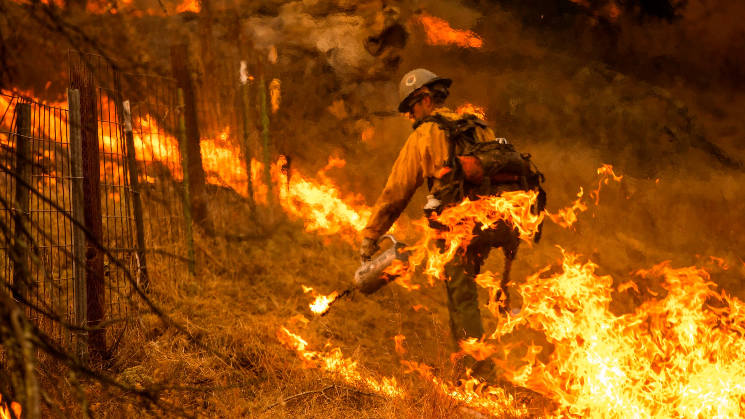 A firefighter sets a back fire along a hillside during firefighting operations to battle the Kincade Fire in Healdsburg, Calif. on Oct. 26, 2019. (Credit: PHILIP PACHECO/AFP via Getty Images)