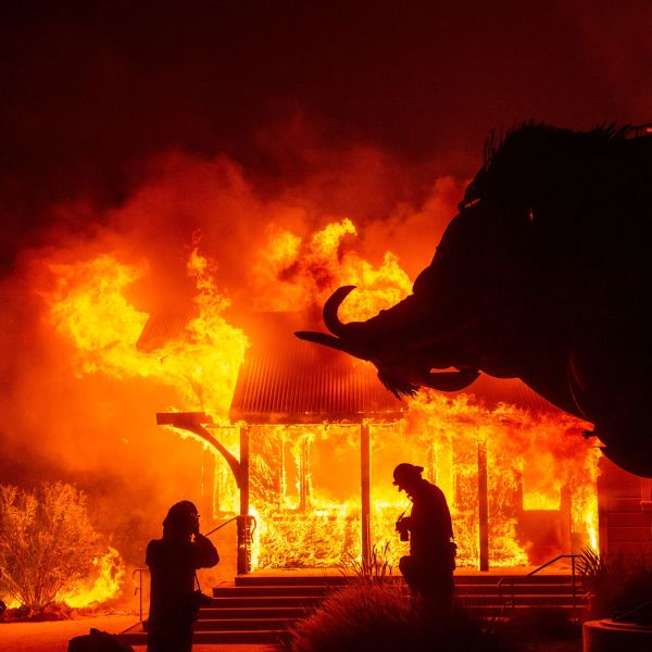 The Soda Rock Winery burns during the Kincade Fire as flames race through Healdsburg, Calif. on Oct. 27, 2019. (Credit: JOSH EDELSON/AFP via Getty Images)