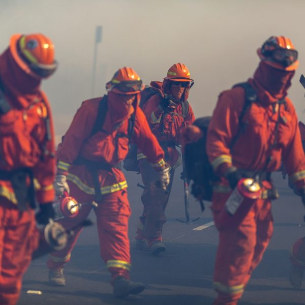 Inmate firefighters from Oak Glen Conservation Camp near Yucaipa, California fight the Easy Fire on Oct. 30, 2019, near Simi Valley. (David McNew/Getty Images)